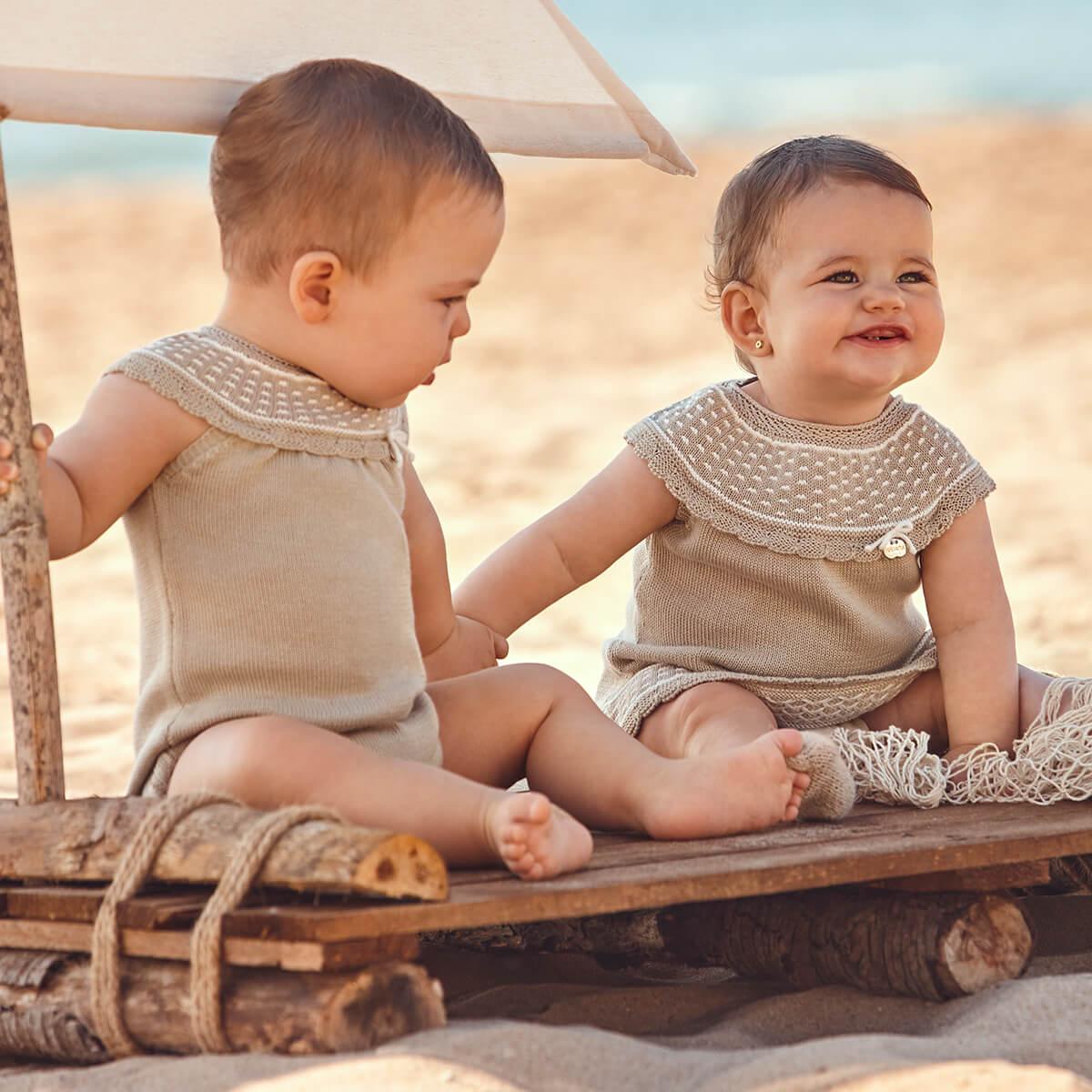 Baby Kleid Beige mit weißen Details