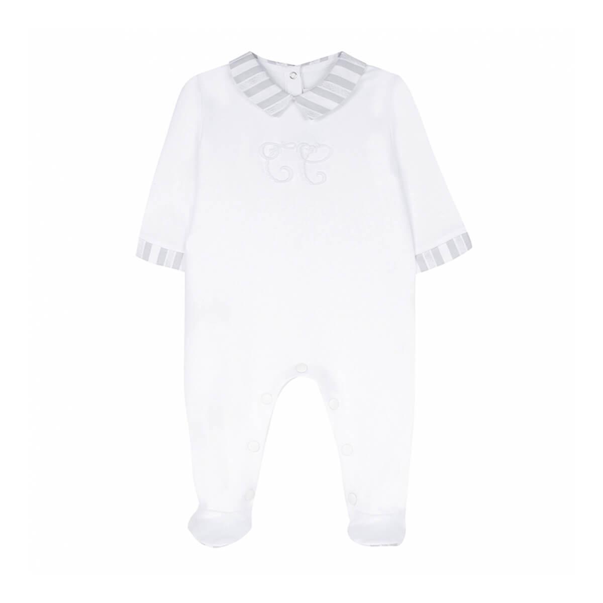 Baby-Anzug weiß mit grauen Details