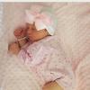 Babymütze weiß mit rosa Schleife extra warm