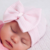 Babymütze mit Schleife rosa gestreift
