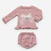 2-teiliger Baby-Anzug rosa mit großer Schleife
