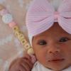 Babymütze weiß mit rosa Schleife