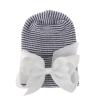 Babymütze schwarz und weiß mit weißer Schleife extra warm