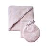 Klassisch-schickes Set pink: Bademantel, Waschlappen & Lätzchen
