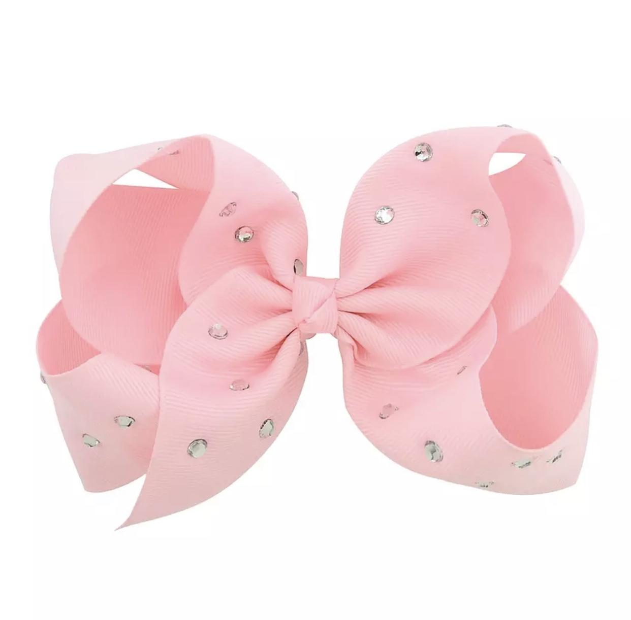 Glitzer-Haarspange mit Schleife XL rosa