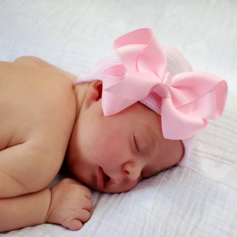 Babymütze rosa-weiß gestreift mit rosa Schleife extra warm