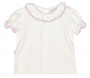 Sommerliches Hemd weiß mit rosa rundem Kragen