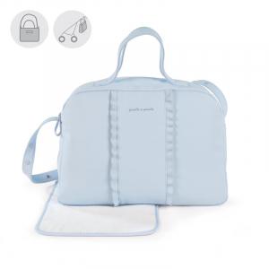 Blaue Wickeltasche mit Wickelauflage - 42 x 31 x 16 cm