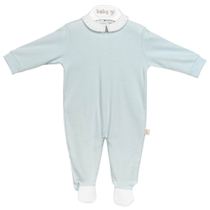 Blauer Babyanzug mit weißen Details