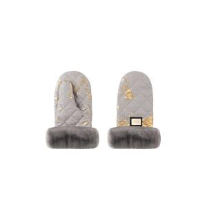 Luxus-Kinderwagenhandschuhe grau mit goldenen Details