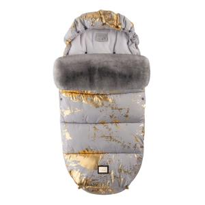 Luxus-Fußsack grau mit goldenen Details