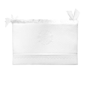 Bettumrandung mit Kopfschutz weiß mit Monogramm