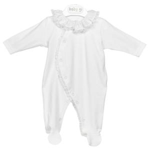 Weißer Babyanzug mit Rüschenkragen