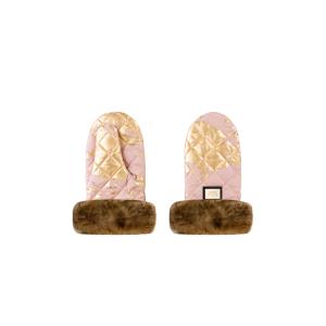 Luxus-Kinderwagenhandschuhe pink mit goldenen Details