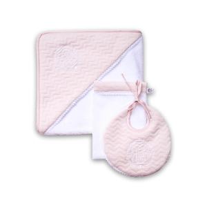Klassisch-schickes Set rosa mit weißen Details: Bademantel, Waschlappen & Lätzchen