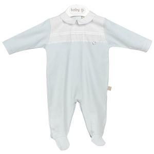 Blauer klassischer Babyanzug mit weißen Details