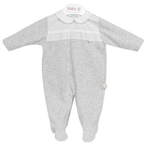 Grauer klassischer Babyanzug mit weißen Details