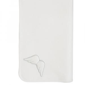 Weiße silberne Engeldecke 77x92 cm