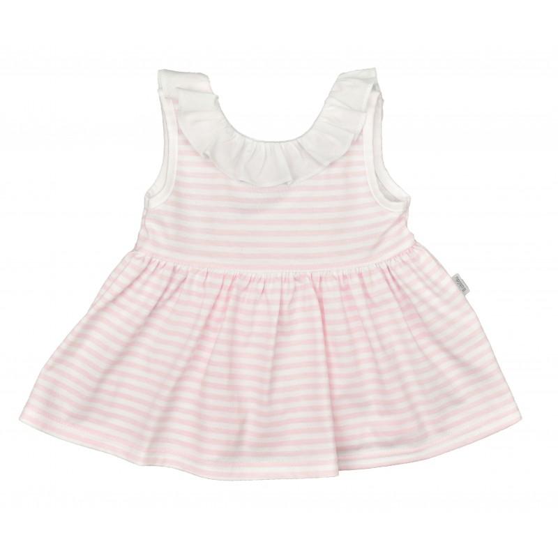 Kleid mit Rüschenkragen rosa