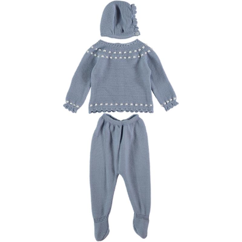 Baby Anzug 3-teilig Blau mit weißen Details