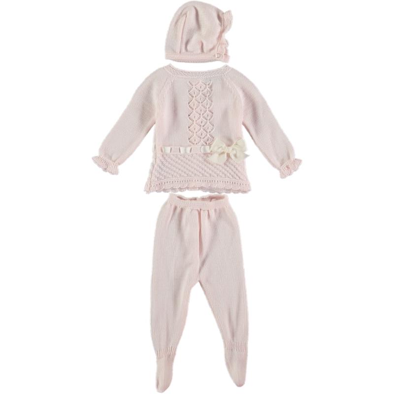 Baby Anzug 3-teilig Hellrosa mit Schleife und Muster