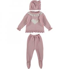 Baby Anzug 3-teilig Rosa mit Herz