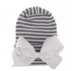 Neugeborener Hut grauweiß mit weißer Schleife extra warm