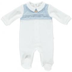 Weißer Samt babyblauer Liebesbabyanzug