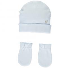Klassisches babyblaues Set aus Mütze und Fäustlingen für Neugeborene