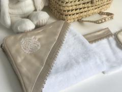Royal Satin Luxus Badcape Set beige