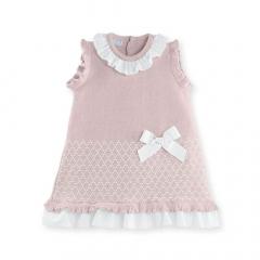 Kleid mit Kragen und Schleife rosa