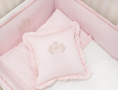 Pink Golden Glow Royal Monogram Kissen