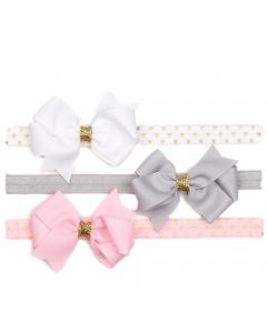 Haarband Set für Neugeborene mit Schleife verstellbar