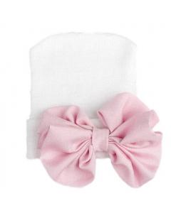 Babymütze mit rosa Glitzerschleife weiß