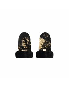 Luxus-Kinderwagenhandschuhe schwarz mit goldenen Details