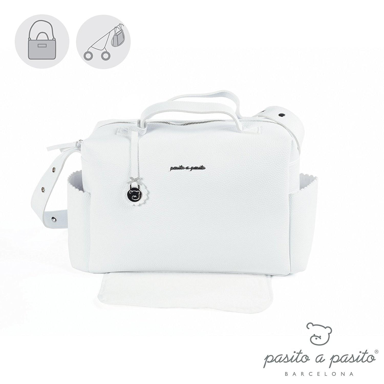 Weiße Wickeltasche mit Wickelauflage - 42 x 25 x 16 cm