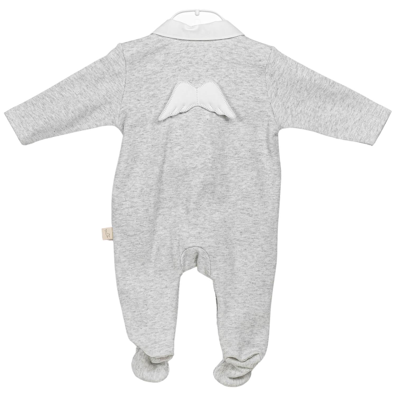 Grauer Engel Baby Anzug
