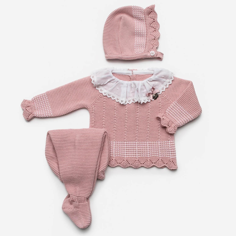Baby 3-teiliger Anzug rosa mit weißen Details