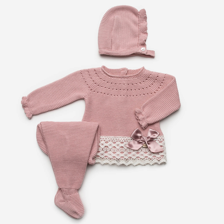 Baby 3-teiliger Anzug rosa mit Schleife