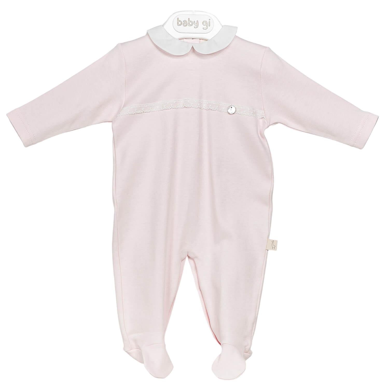 Rosa klassischer Babyanzug mit weißem Kragen