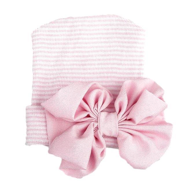 Babymütze mit rosa Glitzerschleife rosa gestreift