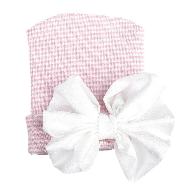 Babymütze mit weißer Glitzerschleife rosa gestreift